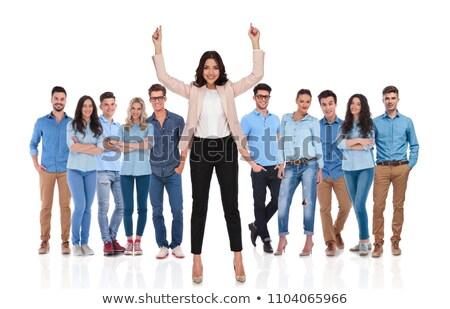 幸せ · 女性実業家 · ポインティング · 空気 · スーツ · 女性 - ストックフォト © wavebreak_media