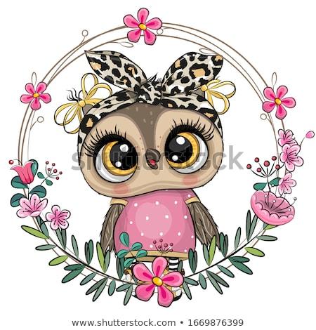 doce · corujas · flor · abstrato · projeto · pássaro - foto stock © popocorn