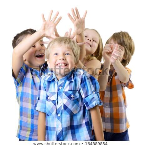 Schooljongen controleren shirt Rood jongen zak Stockfoto © photography33
