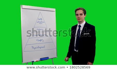 Foto stock: Man Explaining Human Hierarchy