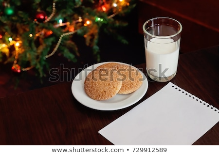 christmas cookies and milk and note and tree stock photo © saje