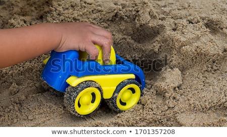 Játék traktor zöld fű zöld gép műanyag Stock fotó © taden