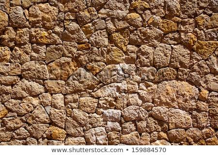 Ibiza masonry wall detail of mediterranean stonewall Stock photo © lunamarina