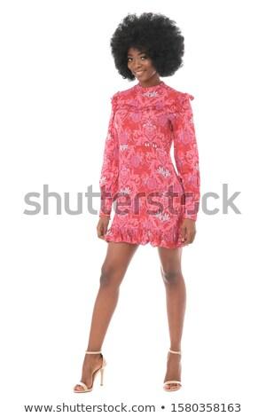 siyah · elbise · esmer · yüksek · topuklu · beyaz · kadın · kız - stok fotoğraf © feedough