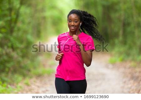 Femme courir 40 années vieux forêt sport Photo stock © ongap