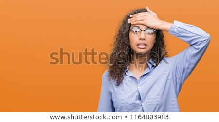 молодые брюнетка деловой женщины очки головная боль бизнеса Сток-фото © sebastiangauert