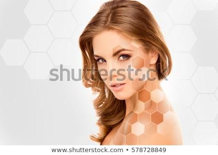 Ziemlich Dame perfekt Teint hübsche Frau Gesicht Stock foto © konradbak