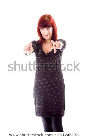 Olgun kadın işaret kamera her ikisi de eller iletişim Stok fotoğraf © bmonteny