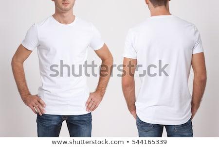 戻る 白 Tシャツ 少年 孤立した 背景 ストックフォト © ashumskiy
