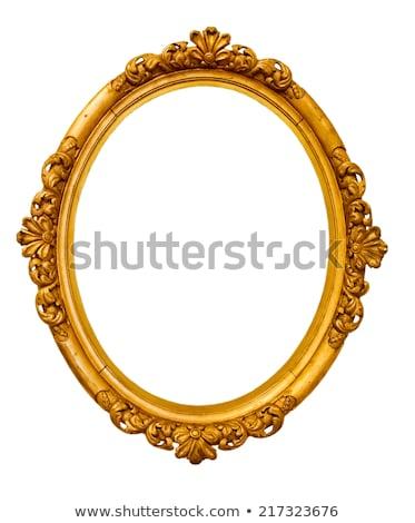 Ouro oval quadro isolado branco Foto stock © Witthaya