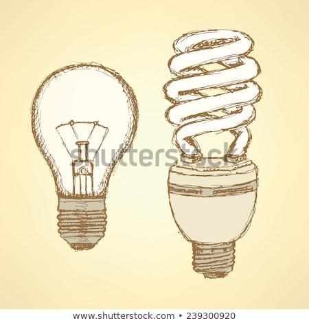 スケッチ · 経済の · 電球 · ヴィンテージ · スタイル · ベクトル - ストックフォト © kali