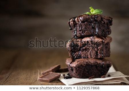 Dessert aliments sucrés gâteau plaque blanche alimentaire Photo stock © yuyu