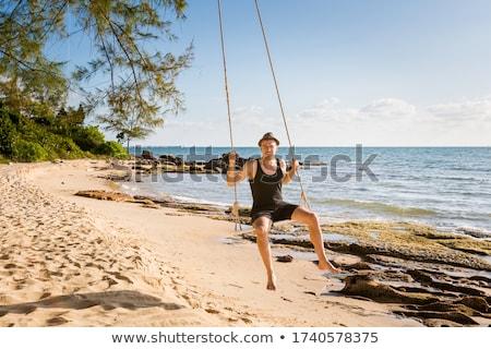 Swing aire de jeux enfants école heureux Photo stock © albertiniz