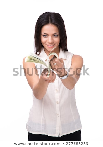 Smiling businesswoman counting money Stock photo © deandrobot