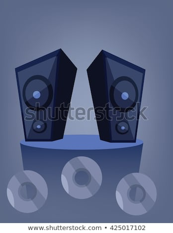 Sound System Speaker Vector Illustration Icon Over White Foto stock © FrimuFilms