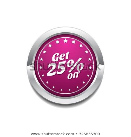 На 25 процент розовый вектора кнопки икона Сток-фото © rizwanali3d
