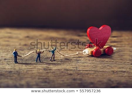 background of wooden little hearts Stock photo © OleksandrO