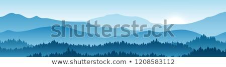 Mavi dağlar kapalı buğu gün batımı ağaç Stok fotoğraf © vapi