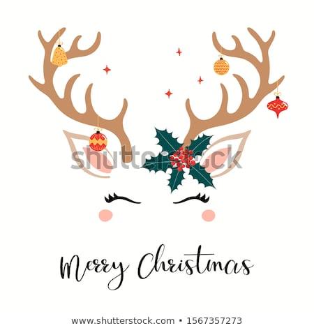 Navidad reno cara feliz ilustración feliz animales Foto stock © Wetzkaz