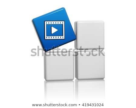 Video Player Sign In Blue Cube On Boxes 3d Illustration Stockfoto © marinini