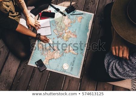 papír · repülőgép · térkép · illusztráció · háttér · művészet - stock fotó © get4net
