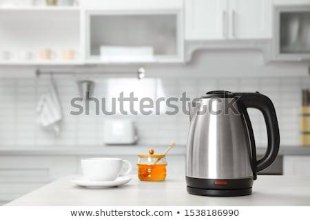 Bogrács rozsdamentes acél otthon konyha tea forró Stock fotó © bluering