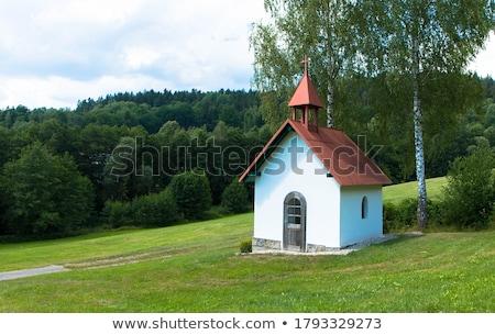 Mały kaplica pola tradycyjny Christian drzew Zdjęcia stock © hraska