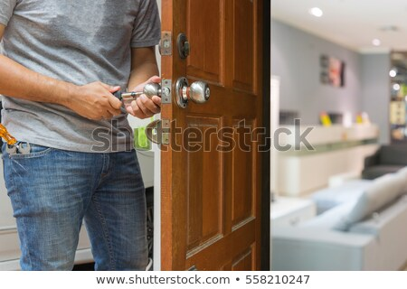 çilingir tamir ahşap kapı adam inşaat Stok fotoğraf © bank215
