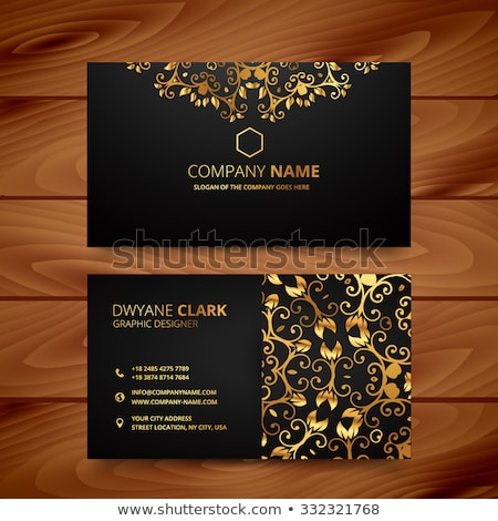 golden floral luxury business card template Stock photo © SArts