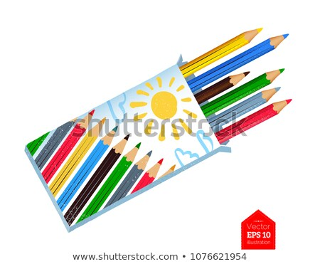 Photo stock: Top View Vector Illustration Of Color Pencil Box