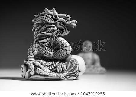 龍 小さな像 おもちゃ 石膏 孤立した 白 ストックフォト © restyler