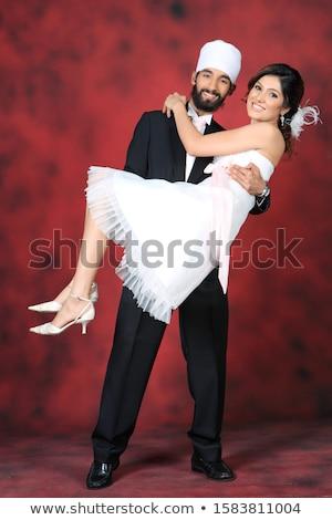 Couple Bride Groom Interracial Wedding Stock photo © lenm
