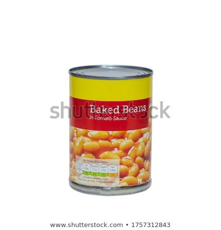 Dobozos fehér bab tányér fából készült étel Stock fotó © Digifoodstock