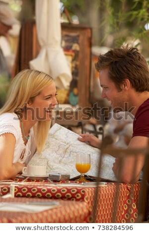 улыбаясь · любящий · пару · сидят · кафе - Сток-фото © is2