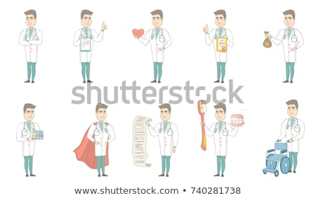 young caucasian doctor holding a money bag stock photo © rastudio