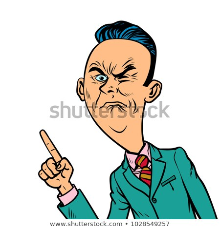 wrinkled nasty bad businessman points finger gesture Stock photo © rogistok