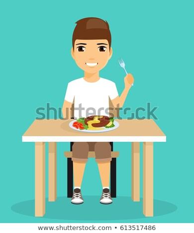 肖像 · 笑みを浮かべて · 少年 · 座って · デジタル - ストックフォト © is2