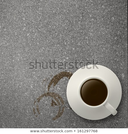 Cup With Coffee And Plate And Coffee Grain And Blots Stock photo © adamson