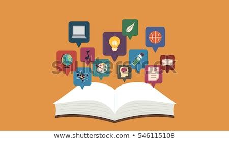 Icona illustrazione libro libro aperto icone Foto d'archivio © lenm