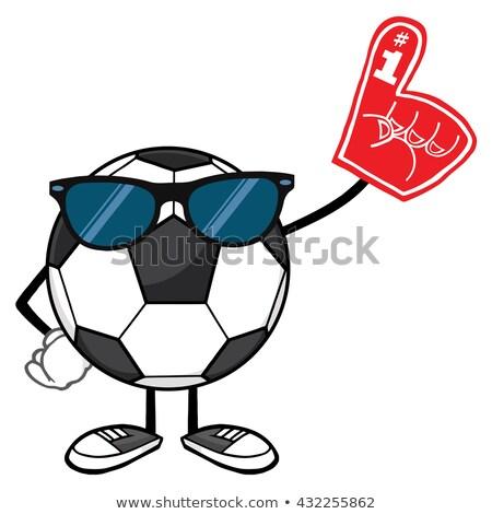 Voetbal cartoon mascotte karakter schuim vinger Stockfoto © hittoon