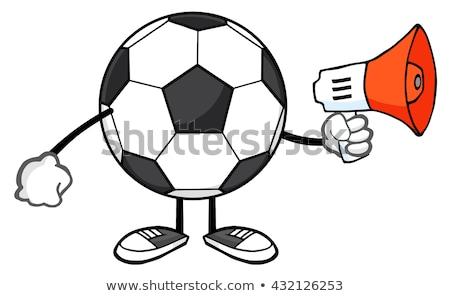 Balón de fútbol mascota de la historieta carácter megáfono aislado blanco Foto stock © hittoon