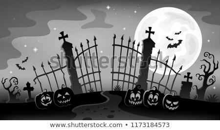 Friedhof Tor Silhouette Gesicht schwarz Herbst Stock foto © clairev