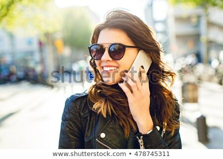 Bastante morena preto jaqueta vermelho Foto stock © acidgrey