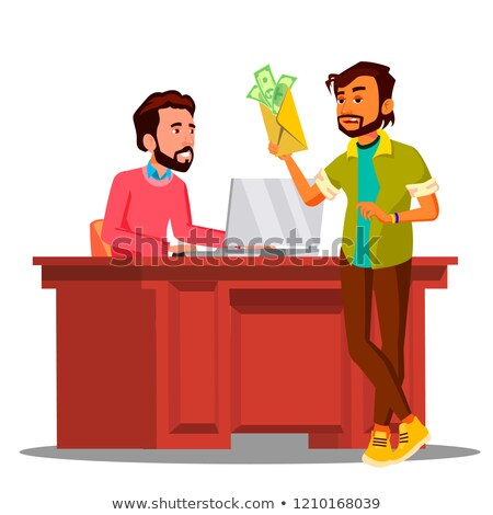 Corruption, Man Giving Money To Chief Sitting In Chair At The Table In Office Vector. Isolated Illus Stock photo © pikepicture