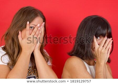 два довольно испуганный молодые девочек друзей Сток-фото © deandrobot