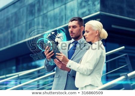 カップル · 惑星 · ホログラム · スペース · 将来 · 技術 - ストックフォト © dolgachov