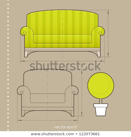 Modern green soft armchair with upholstery - interior design element isolated on white background. Stock photo © MarySan