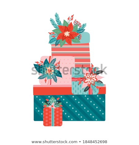 Holly Berries with Stacked Leaves Vector Illustration Stock photo © cidepix