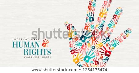 Droits de l'homme jour bannière personnes mains Photo stock © cienpies