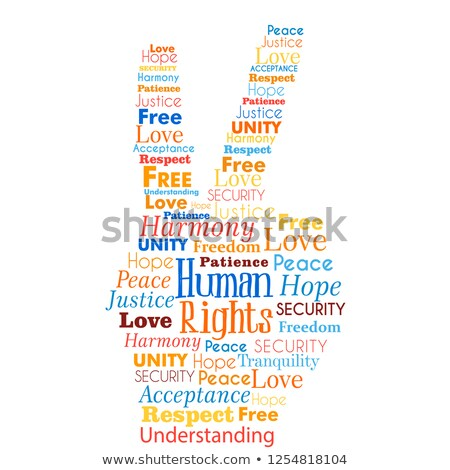 Human Rights concept words in hand shape Stock photo © cienpies